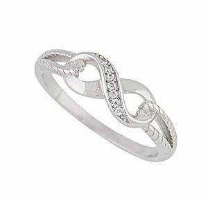 Single Row Cubic Zirconia Silver Infinity Ring