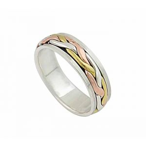 Three Tone Woven Style Sterling Silver Ring
