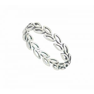 Open Leaf Silver Stacking Ring