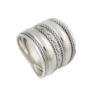 Sterling Silver Plaited Band Statement Ring