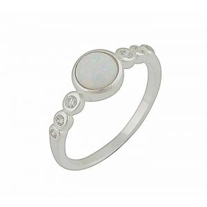 White Opal And Cubic Zirconia Silver Ring