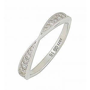 Rhodium Plated Micro Set Cubic Zirconia Silver Ring
