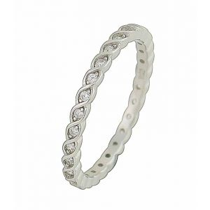 Lustrous Symmetry Silver Stacking Ring