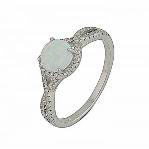White Opal Cluster Silver Ring