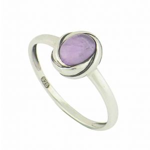 Amethyst Oval Stone Silver Ring