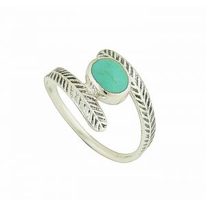 Turquoise Clasped Adjustable Silver Ring