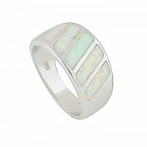 White Opal Bold Slant Ring