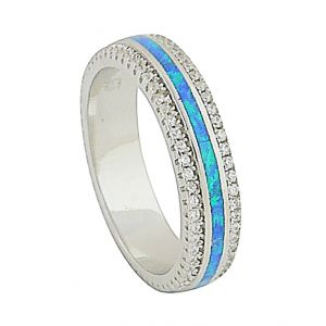 Blue Opal Central Band Silver Ring