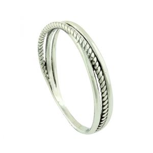 Linear Crossover Silver Stacking Ring