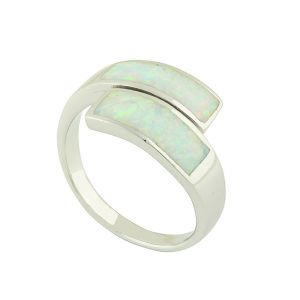 White Opal Prism Duet Ring