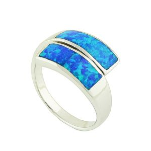 Blue Opal Prism Duet Ring