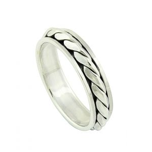 Woven Silver Spinner Ring