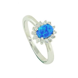 Sparkle Surround Blue Opal Ring