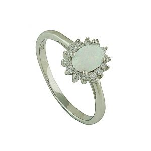 Sparkle Surround White Opal Ring