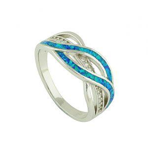 Wavy Blue Opal Silver Ring