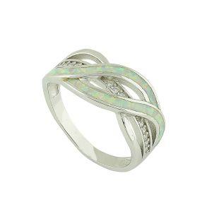 Wavy White Opal Silver Ring