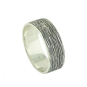 Silver Bark Band Ring