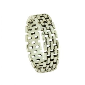 Silver Brick Stack Band Ring