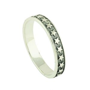 Studded Stars Silver Band Ring
