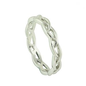 Woven Silver Feature Ring