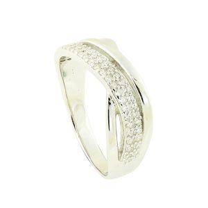 Crystal Twist Silver Ring