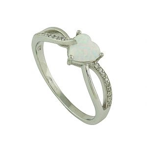 White Opal Heart Entwined Silver Ring