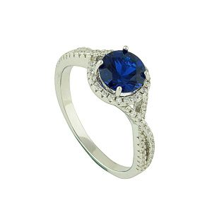 Sapphire Crossover Sparkle Band Ring