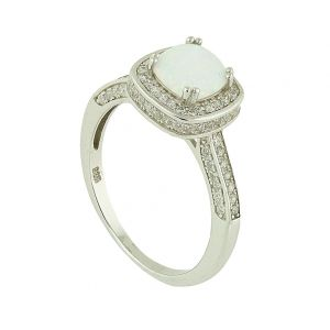 White Opal Bedazzle Silver Ring