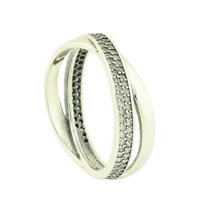 Crystal Crossover Silver Band Ring