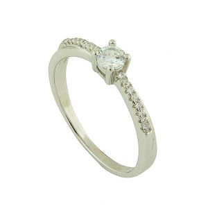 Solitaire Surround Silver Ring