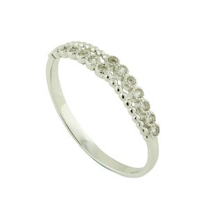 Sparkle Bead Duet Silver Ring