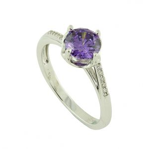 Purple Cubic Zirconia Sparkle Band Silver Ring
