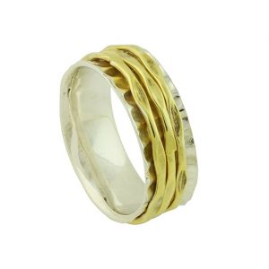 18K Gold Plated Hammered Band Spinner Ring