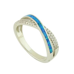 Blue Opal Crossover Ring