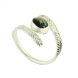 Encased Abalone Adjustable Silver Ring