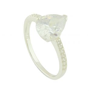 Silver Solitaire Surround Ring