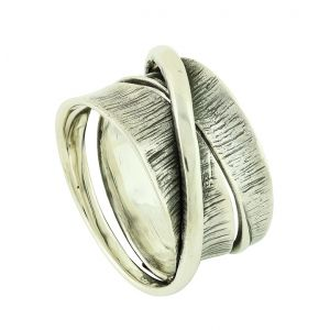 Artisan Bold Etched Chunky Silver Ring