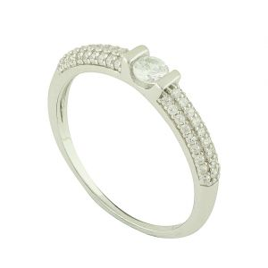 Solitaire Cradle Encrusted Band Ring