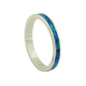 Blue Opal and Silver Band Ring