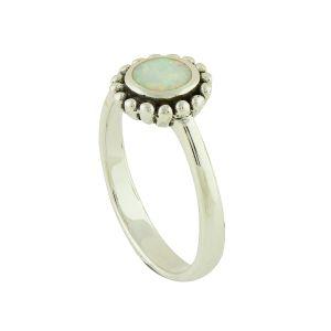 White Opal Silver Dial Ring