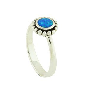 Blue Opal Silver Dial Ring