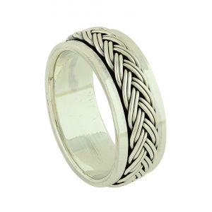 Braided Silver Spinner Ring