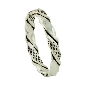 Cross Etch Hammered Silver Ring