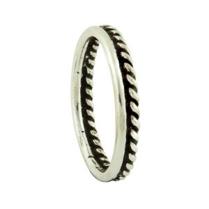 Semi Etched Silver Stacking Ring