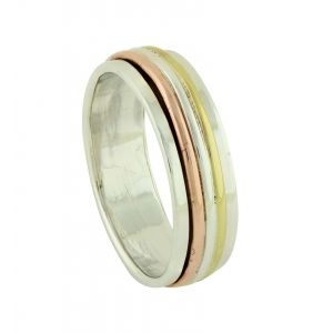 Alternating Metals Silver Spinner Ring