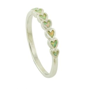 Petite Heart Link White Opal Ring