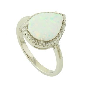 White Opal and Cubic Zirconia Dewdrop Ring