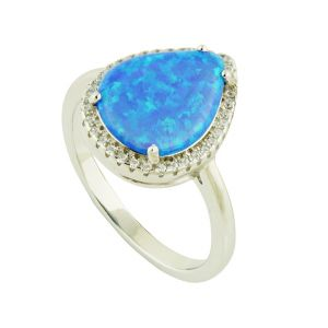 Blue Opal and Cubic Zirconia Dewdrop Silver Ring