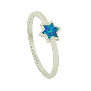 Blue Opal Star Silver Ring