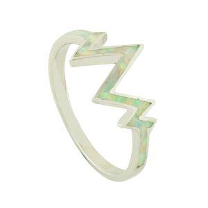 White Opal Lightning Ring